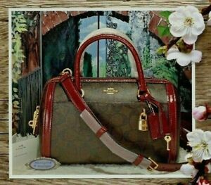 NWT COACH ZOE BARREL Satchel In BROWN SIGNATURE PVC & WINE Patent Leather Trim
