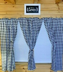 NATUS WEAVER Beige /& White 1 Pc Buffalo Check Gingham Pattern Cotton Farmhouse Valance Curtain for Kitchen Cafe Small Curtains Bathroom Window 54 x 18 Inches