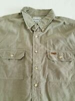 Men's Carhartt  Plaid Shirt Size 2XL Button Down Short Sleeve GREEN