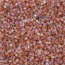 Miyuki Hex Cut Seed Beads 8/0 Dark Peach Lined Crystal AB 12g (Q12/2)