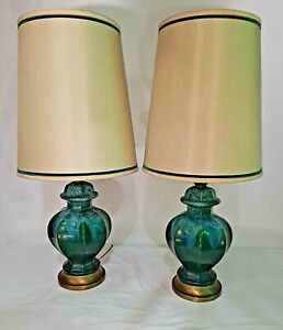 Mid Century Pair Vintage Mid Century Ceramic lamps Gorgeous Green And  Blue