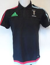 HARLEQUINS RUGBY 2015/16 BLACK MEDIA POLO BY ADIDAS SIZE LARGE BRAND NEW