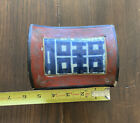 Vintage Chinese Blue Floral Pottery Shard Red Lacquer Box with Flowers