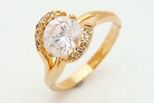 Pretty 10K Yellow Gold FilledGF White Sapphire Women's Jewelry Ring Da80 size10