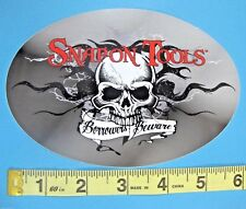 """Genuine Official Snap On Tools Logo Decal BORROWERS BEWARE - Oval 6"""" x 4"""" NEW"""