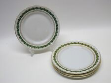 Antique Vintage Imperial Crown China Austria Saucers Gold Green Leaf. Set of 4