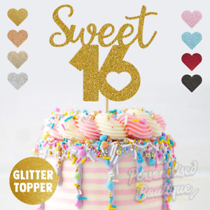 Sweet 16 Sixteen 16th Birthday Party, Super Glittery Glitter Cake Topper