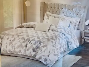 Madison Park California King Comforter Set White And Silver Metallic W/ Pillows