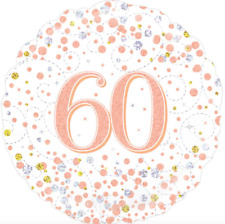 Happy 60th Birthday 18inch Sparkling Fizz Foil Balloon Rose Gold *Made in UK*
