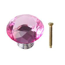 30/40/50mm Diamond Glass Crystal Cabinet Door Knob Drawer Cupboard Pull Handle
