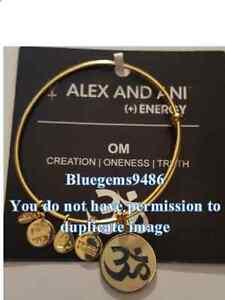 Alex and Ani Ivory Epoxy Om Charm Bangle Yellow Gold - Discontinued