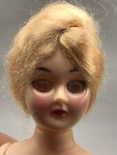 Vintage Creepy Half Doll Pick Cake Top Red Sleepy Eyes Halloween Decor Scary