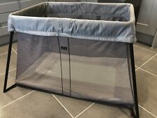 BabyBjorn Travel Cot Light With Fitted Sheet in Silver Grey Colour