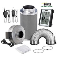 iPower 4''/6''/8'' Inch Inline Fan Carbon Filter Ducting & Humidity Monitor