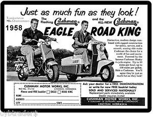 1958 Cushman Eagle & Road King  Motor Scooter Ad Refrigerator / Tool Box Magnet