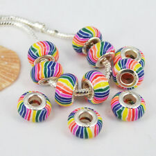 20pc Rainbow Fimo Polymer Clay Big Hole European Beads Spacer Fit Charm Bracelet