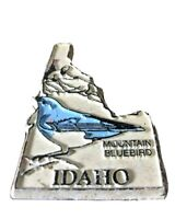 Vintage White Magnet Idaho Souvenir Mountain bluebird Collectible Skiing