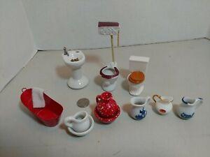 Vtg Dollhouse Miniatures Porcelain Bath Room lot toilets sink vases metal tub