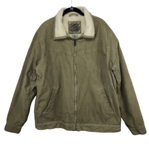 Outlooks Mens Corduroy Jacket Tan Sherpa Lined Size Large