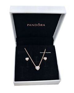 New 100% Pandora Rose 14k Sparkling Elevated Heart Earrings Necklace Gift Set