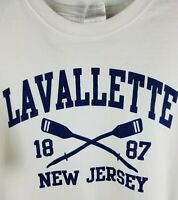 Lavallette New Jersey NJ White Crossed Oars Logo T-Shirt Size L Tee !