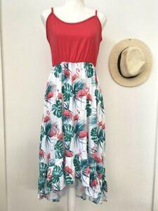size 12 AUS new womens dress red pink flamingo & palms ruffle high-low dress