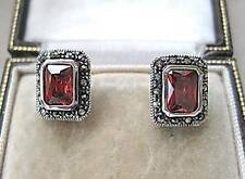 Elegant Deco Design Garnet CZ, Marcasite & Silver Stud Earrings