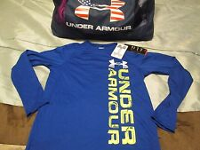 BRAND NEW Boys UNDER ARMOUR Blue w/ Neon Vertical Print L/s YSMALL 8 FREE SHIP!