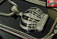 """Large Crown King Royalty Iced Out Hip Hop Crystal CZ Pendant Franco Chain 36"""""""