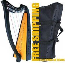"36"" DEURA 22 STRINGS LEVERS HARP + BAG Irish Celtic Lap Folk DH1030BK 01"