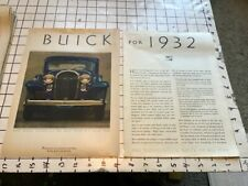vintage original 1932 removed ad:  BUICK for 1932 --  2 page