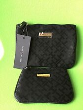 TOMMY HILFIGER MONOGRAM BLACK SET OF 2 COSMETIC BAG CASE TOILETRY POUCH $48 NWT
