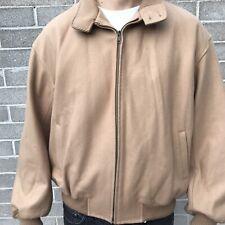 Melton Bomber XL Evergreen Tan Wool Blend Bomber Jacket Full Zipper Coat Lined