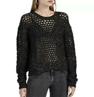 IRO Montero Sweater M Gray Speckle Black Netted Open Knit Wool Pullover $440