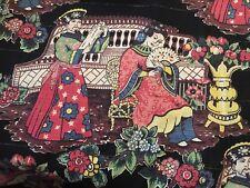 Vtg 2 pr Barkcloth Fabric Curtains Drapes Asian Romantic Courting Couple