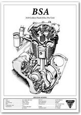 BSA A10 Golden Flash engine cut-away motorcycle specification workshop poster