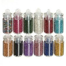 12 Mini Perlas De Caviar Nail Art Botellas Uñas Falsas Scrapbooking Manualidades Uñas Tips