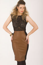AJOY - GLAZED LEATHERETTE TOFFEE BROWN HIGH WAISTED PENCIL SKIRT. BLACK SIDES.