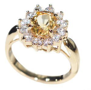 Ah! Jewellery® Genuine Precious 1.45ct CITRINE Solitaire Gold Filled Ring
