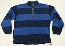 Rare VTG TOMMY HILFIGER Spell Out Flag Striped Fleece Sweatshirt 90s Blue SZ 2XL