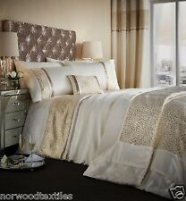 Catherine Lansfield Luxor Jacquard Full Room Set Duvet Cover Bedspread Curtains Double Gold