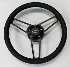 "C10 C20 S10 Blazer Chevy Pick Up Steering Wheel 14 3/4"" Black Leather On Black"
