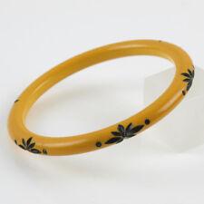 Vintage Bakelite Bracelet Bangle Spacer Floral carved creamed corn rhinestone