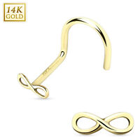 14 Karat 14K Solid Yellow Gold Infinity Sign Nose Stud Screw Ring 20g 5/16""