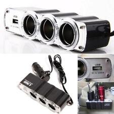 3 Way Car Cigarette Lighter Socket Splitter Charger Power Adapter DC USB