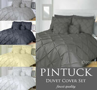 Pintuck Bedding Pleated Duvet Cover Set with Pillowcases Single Double King Size