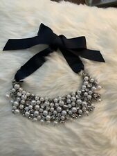 Abercrombie Fitch White Pearl Navy Ribbon Necklace