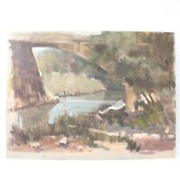 English School oil painting river landscape bridge impressionist 20th century