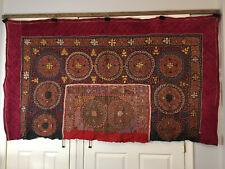 "crimson Mongolia Kazakh embroidered wall textile handiwork ~76"" x 44"" хана аравч"