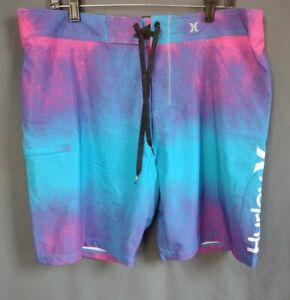 Hurley Phantom Boardshorts Swim Trunks Men Size 36 Pink Blue and Purple